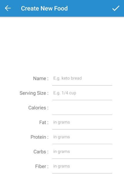 Fill in the fields to create your custom food