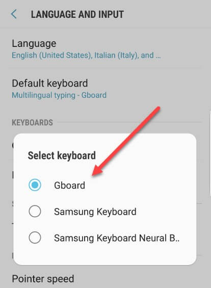 language and input - select gboard